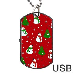 Snowman Pattern Dog Tag Usb Flash (two Sides) by Valentinaart