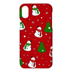 Snowman Pattern Apple Iphone X Hardshell Case by Valentinaart