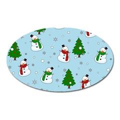 Snowman Pattern Oval Magnet by Valentinaart