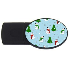 Snowman Pattern Usb Flash Drive Oval (2 Gb) by Valentinaart