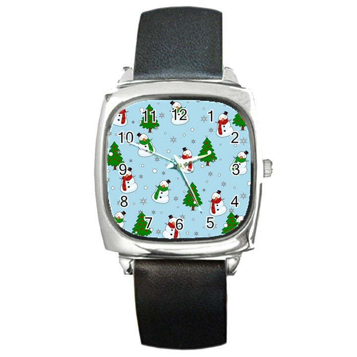 Snowman pattern Square Metal Watch