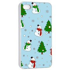 Snowman Pattern Apple Iphone 4/4s Seamless Case (white) by Valentinaart