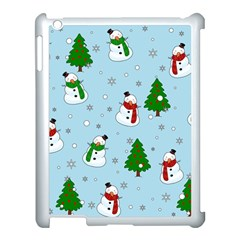 Snowman Pattern Apple Ipad 3/4 Case (white) by Valentinaart