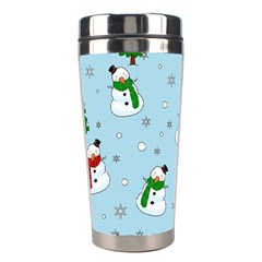 Snowman Pattern Stainless Steel Travel Tumblers by Valentinaart