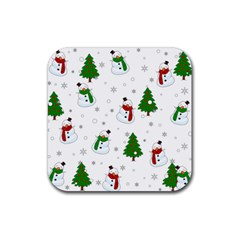 Snowman Pattern Rubber Coaster (square)  by Valentinaart