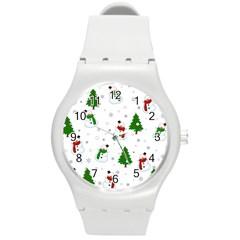 Snowman Pattern Round Plastic Sport Watch (m) by Valentinaart