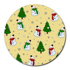 Snowman Pattern Round Mousepads by Valentinaart