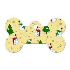 Snowman Pattern Dog Tag Bone (two Sides) by Valentinaart