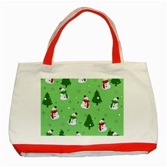 Snowman Pattern Classic Tote Bag (red)