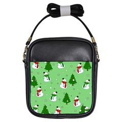 Snowman Pattern Girls Sling Bags by Valentinaart