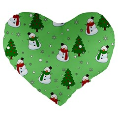 Snowman Pattern Large 19  Premium Flano Heart Shape Cushions by Valentinaart