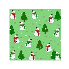 Snowman Pattern Small Satin Scarf (square) by Valentinaart