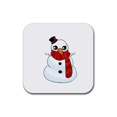 Kawaii Snowman Rubber Square Coaster (4 Pack)  by Valentinaart