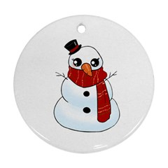 Kawaii Snowman Round Ornament (two Sides) by Valentinaart