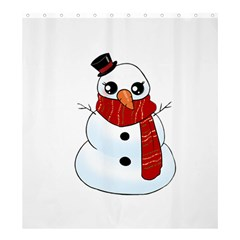 Kawaii Snowman Shower Curtain 66  X 72  (large)  by Valentinaart