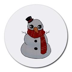 Kawaii Snowman Round Mousepads by Valentinaart