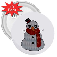 Kawaii Snowman 3  Buttons (10 Pack)  by Valentinaart