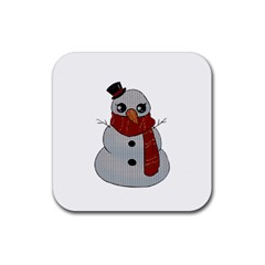 Kawaii Snowman Rubber Coaster (square)  by Valentinaart