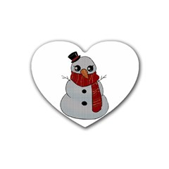 Kawaii Snowman Rubber Coaster (heart)  by Valentinaart