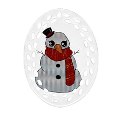 Kawaii Snowman Oval Filigree Ornament (two Sides) by Valentinaart