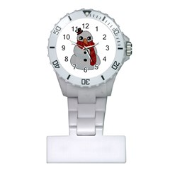 Kawaii Snowman Plastic Nurses Watch by Valentinaart