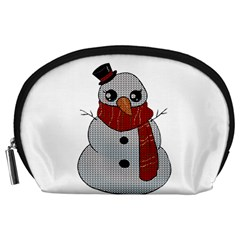 Kawaii Snowman Accessory Pouches (large)  by Valentinaart
