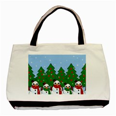 Kawaii Snowman Basic Tote Bag (two Sides) by Valentinaart