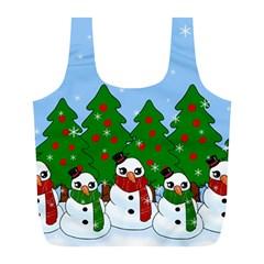 Kawaii Snowman Full Print Recycle Bags (l)  by Valentinaart