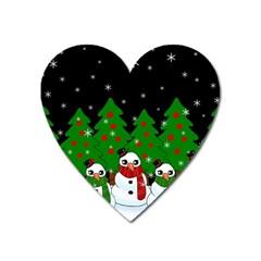 Kawaii Snowman Heart Magnet by Valentinaart