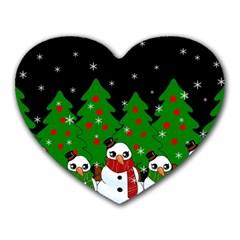 Kawaii Snowman Heart Mousepads by Valentinaart