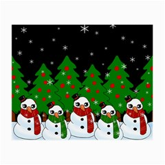 Kawaii Snowman Small Glasses Cloth (2 Side) by Valentinaart