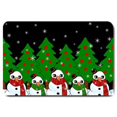Kawaii Snowman Large Doormat  by Valentinaart