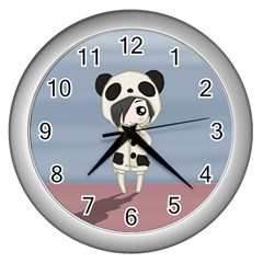 Kawaii Panda Girl Wall Clocks (silver)  by Valentinaart