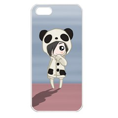Kawaii Panda Girl Apple Iphone 5 Seamless Case (white) by Valentinaart