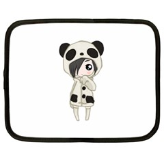 Kawaii Panda Girl Netbook Case (xl)  by Valentinaart
