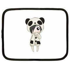 Kawaii Panda Girl Netbook Case (xxl)  by Valentinaart
