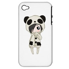 Kawaii Panda Girl Apple Iphone 4/4s Hardshell Case (pc+silicone) by Valentinaart
