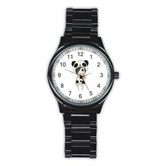 Kawaii Panda Girl Stainless Steel Round Watch by Valentinaart