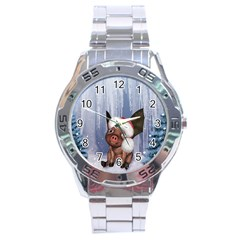 Christmas, Cute Little Piglet With Christmas Hat Stainless Steel Analogue Watch by FantasyWorld7