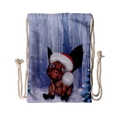 Christmas, Cute Little Piglet With Christmas Hat Drawstring Bag (small) by FantasyWorld7