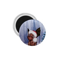 Christmas, Cute Little Piglet With Christmas Hat 1 75  Magnets