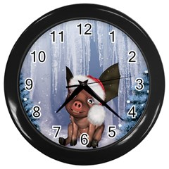 Christmas, Cute Little Piglet With Christmas Hat Wall Clocks (black) by FantasyWorld7