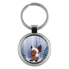 Christmas, Cute Little Piglet With Christmas Hat Key Chains (round)  by FantasyWorld7