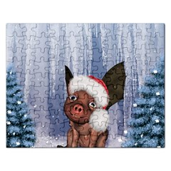 Christmas, Cute Little Piglet With Christmas Hat Rectangular Jigsaw Puzzl by FantasyWorld7