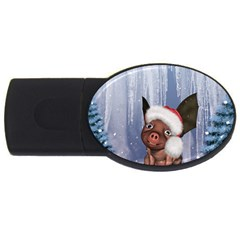 Christmas, Cute Little Piglet With Christmas Hat Usb Flash Drive Oval (4 Gb) by FantasyWorld7