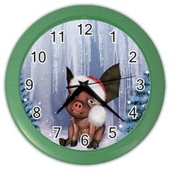 Christmas, Cute Little Piglet With Christmas Hat Color Wall Clocks by FantasyWorld7