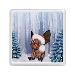 Christmas, Cute Little Piglet With Christmas Hat Memory Card Reader (square)  by FantasyWorld7