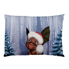Christmas, Cute Little Piglet With Christmas Hat Pillow Case (two Sides) by FantasyWorld7