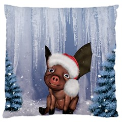 Christmas, Cute Little Piglet With Christmas Hat Large Cushion Case (one Side) by FantasyWorld7