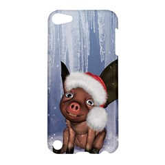 Christmas, Cute Little Piglet With Christmas Hat Apple Ipod Touch 5 Hardshell Case by FantasyWorld7